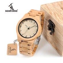 BOBO PÁJARO Reloj De Madera De Bambú para Los Hombres Únicos Diseño Lug WD27 Top Marca de Lujo de Cuarzo Banda De Madera de Noche Verde Puntero Relojes de Pulsera
