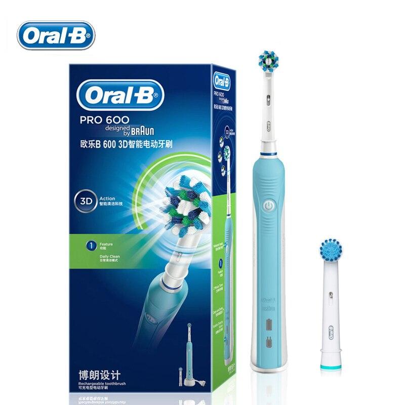 Cepillo de dientes recargable Oral B Pro 600 3D cepillo de dientes  eléctrico CrossAction rotación impermeable cepillo de dientes de cabezas en  Cepillos de ... de30066364cf