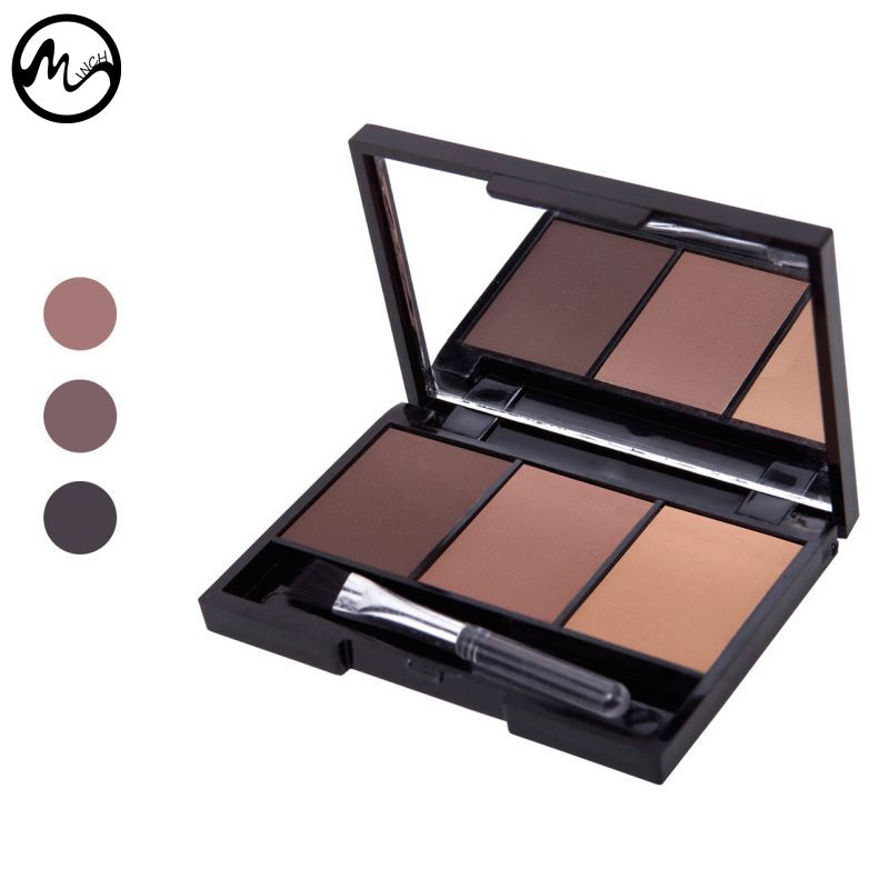 MINCH Popular Makeup Accessary 3 Colour Long Lasting Eyebrow Powder/Shadow Palette Make Up Eyebrow + Brush