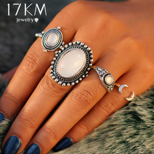 17KM Vintage Big Opal Stone Flower Knuckle Rings Set For Women Antique Silver Color Midi Finger Ring Statement Bohemian Jewelry