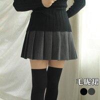 Primavera e outono de cintura alta de lã saia curta de cor sólida saia plissada busto saia uma linha saia cinza
