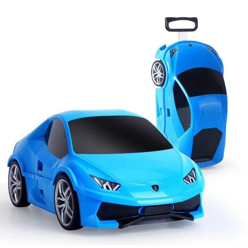 18 pouces enfants 3D voiture valise enfants bagages valise chariot de voyage valise enfant cartables porte-Ons jouets roulant boîte de rangement