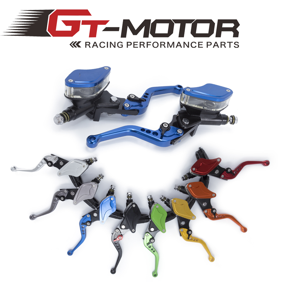 GT Motor - CNC Universal Motorcycle Master Cylinder Reservoir Hydraulic Brake Clutch Lever A Pair 8 Colors For Kawasaki 50-300CC 1 pair 7 8 universal motorcycle hydraulic brake master cylinder clutch lever reservoir for kawasaki suzuki honda ducati blue