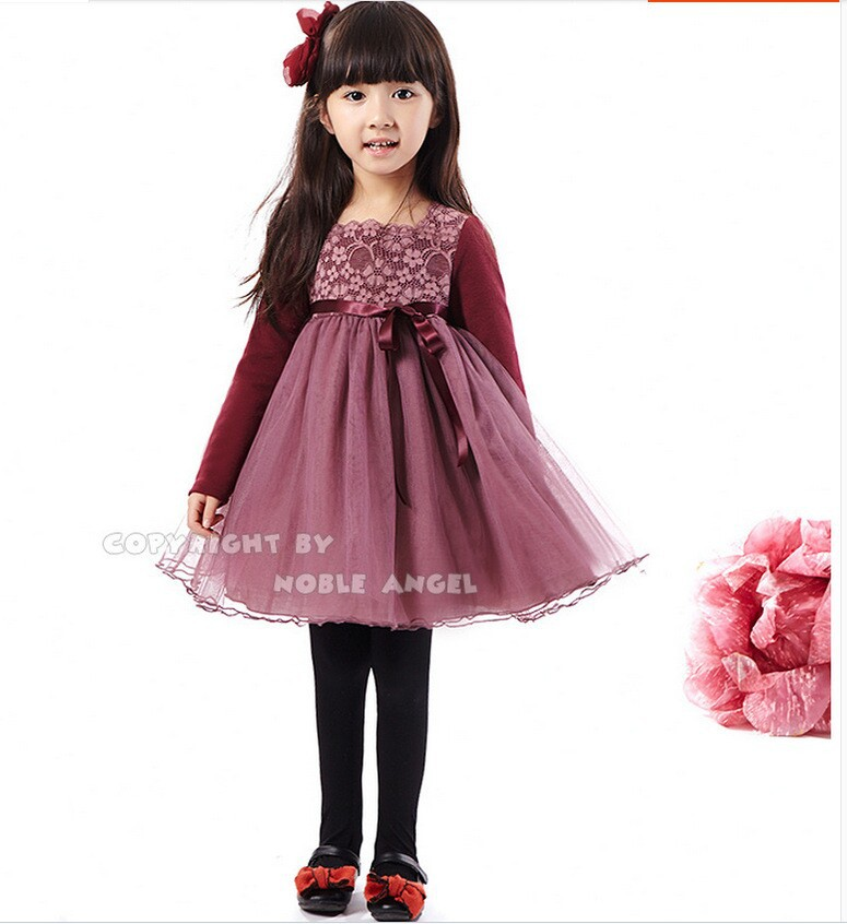 Girls Pattern Lace Dress With Sash Autumn Baby Burgundy ...