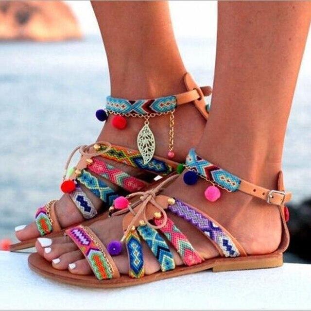 d2e829c8bbb8 Women Sandals Plus Size 34-43 Summer Shoes Fringe Casual Flats Sandals Shoes  For Woman European Rome Style Beach Shoes Sandalias