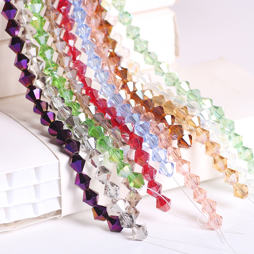 ZHUBI New Murano Lampwork Glass Faceted Bicone Beads 4mm 110pcs/lot Crystal Loose AB Materials for the Manufacture of Jewelery image