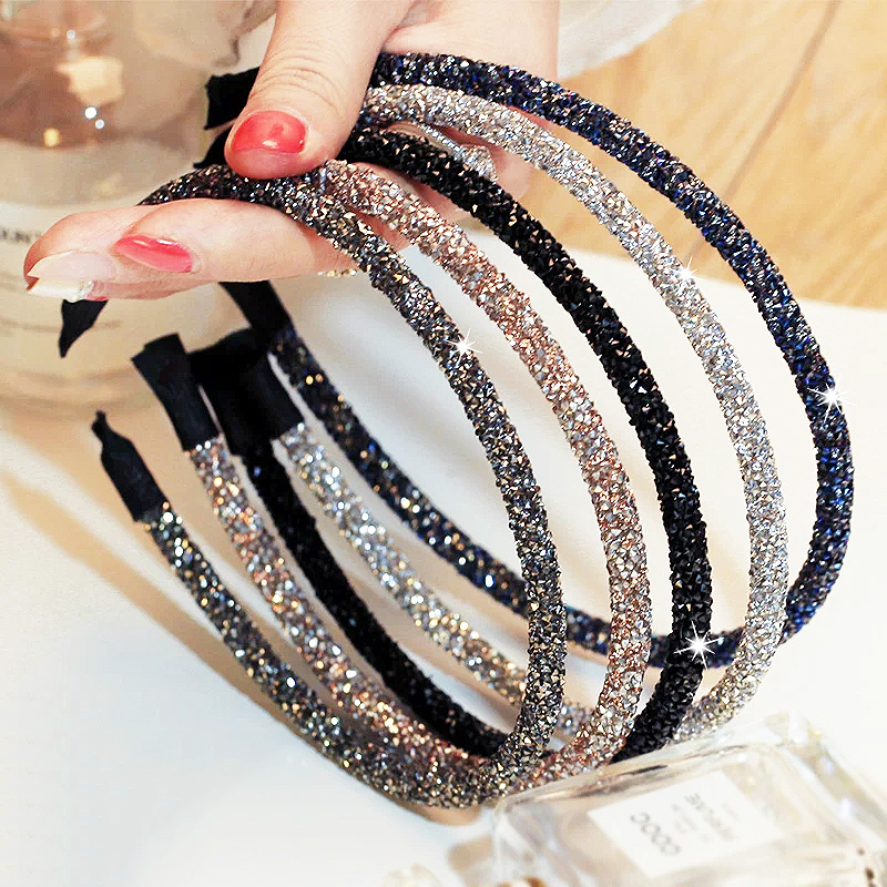 2020new Colorful Elegant Gradient Flash Diamond Sparkling Hair Band Fashion Crystal Shine Female Headband Fashion Party Gift