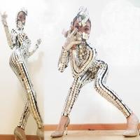 Stylish Women Awesome Sparkling Leotard Nightclub Personality Snake Head Mirror Ladies Lens Bodysuit Gogo Club Costume Female