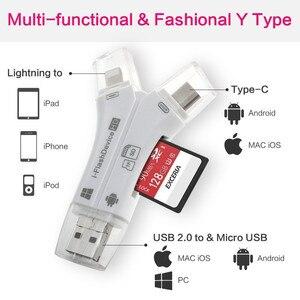 Image 4 - 4 で 1 SD カードリーダー USB マイクロ SD & TF カードリーダーアダプタ iphone アプリ mac Android カメラ送料照明 & タイプ C エクステンダー