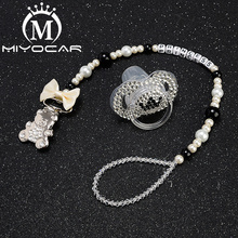 MIYOCAR bling sliver bear pacifier clip  holder with black white crown SP014