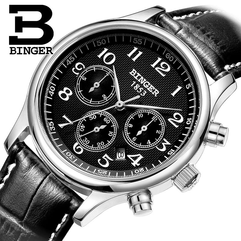 Switzerland men's watch luxury brand Wristwatches BINGER Mechanical Wristwatches leather strap Waterproof B6036-5 switzerland watches men luxury brand wristwatches binger mechanical wristwatches leather strap waterproof b6036 9