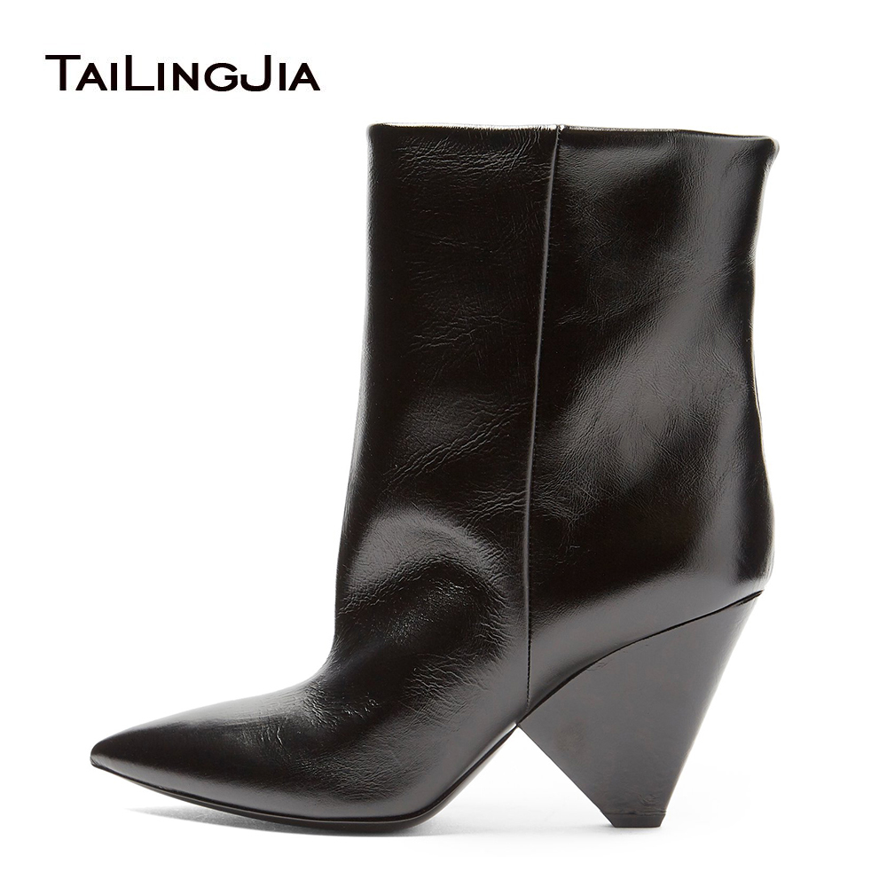 d5e8e99b876 Trendy Stylish Slip on Pointed Toe Ladies Cone High Heel Short Boots 2018  Black Wedge Booties