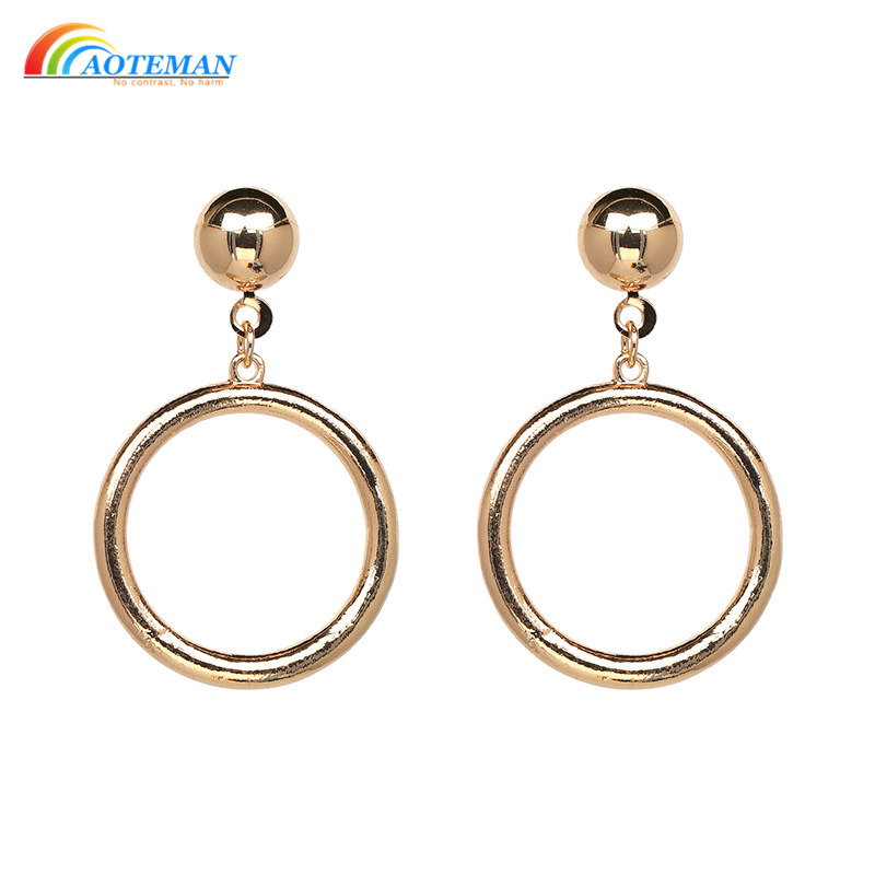Gold Round Metal Drop Earrings New Arrival Fashion Statement Dangle Earrings  For Women Jewelry Accessories