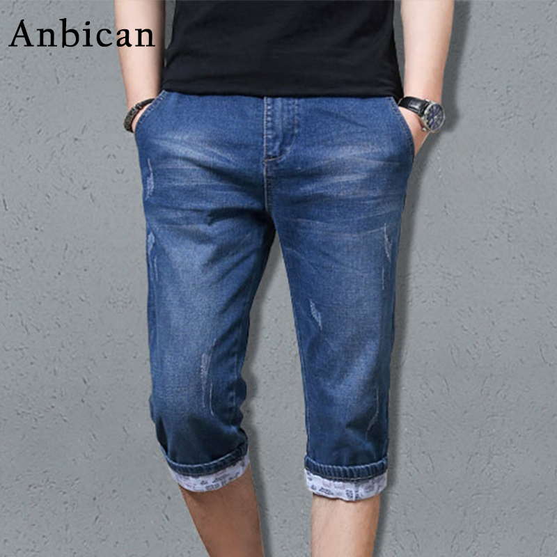 Anbican Fashion Blue Short Jeans Men 2017 Brand New Summer Skinny Jeans Shorts Male Stretch Casual Denim Jeans 2017 lady gift enmex abstract patterns elegant temperam with simple unique design for young women fashion quartz watches