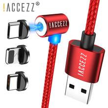 !ACCEZZ 90 Degrees Magnetic Fast Charging Cable For IPhone 7 8 X XR XS Max Micro USB Type C Magnet Charger Cables For Samsung S9 accezz magnetic cable for apple iphone x xs max xr micro usb type c for samsung s10 s9 fast charging cell phone magnet charger