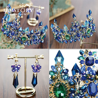 HIMSTORY Luxury European Designs Crystal Queen Princess Tiaras Crown Rhinestone Diadem For Bride Wedding Hair Accessory
