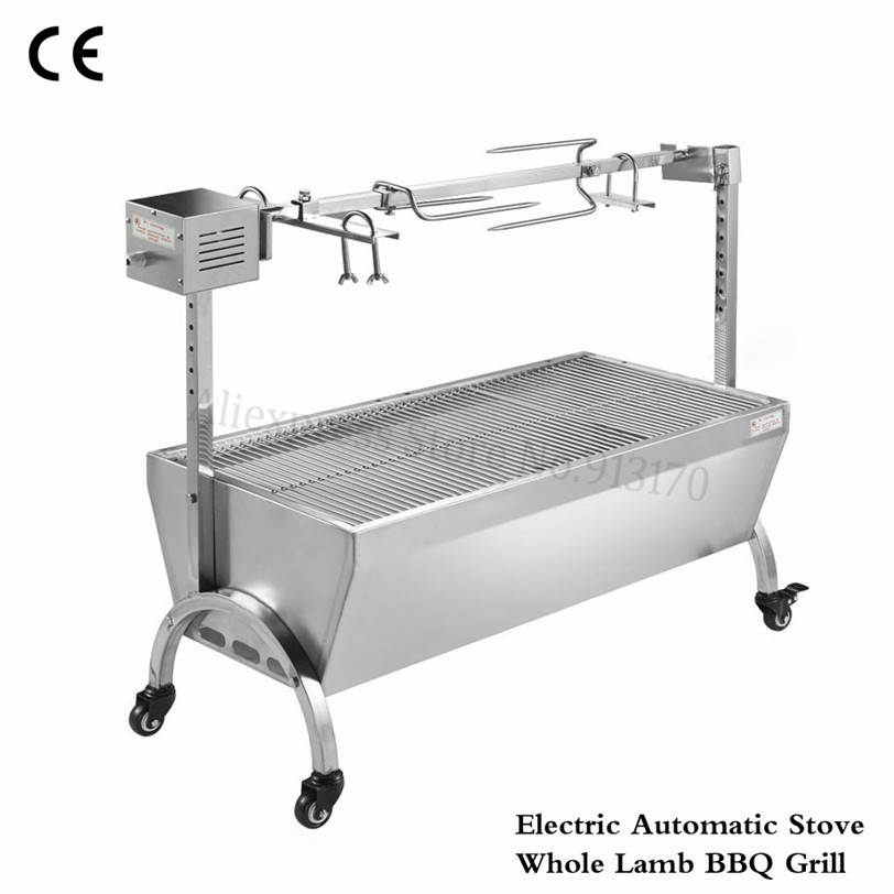 Stainless Steel Charcoal Roasted Lamb Leg BBQ Grill Electric Motor Automatic Flip Outdoor Home Barbecue Roasting Machine