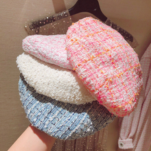 5 Color Hot Sale 2019 Fashion New Womens Elegant Plaid Tweed Beret Female Hat Spring Autumn All Match Hats Pink Blue White Y276