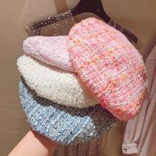 5 renk sıcak satış 2019 moda yeni kadın zarif ekose tüvit bere kadın şapka bahar sonbahar tüm maç şapka pembe mavi beyaz Y276
