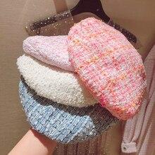 Béret élégant en Tweed à carreaux pour femmes, 5 couleurs à la mode, chapeau assorti, rose, bleu blanc, Y276, printemps automne, offre spéciale