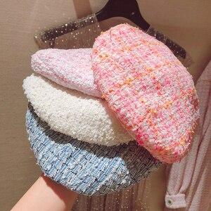 Image 1 - Boina de Tweed a cuadros elegante para mujer, 5 colores, gran oferta, gorros combinables, primavera Otoño, rosa, azul, blanco, Y276, novedad de 2019