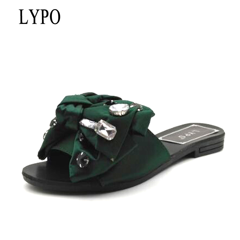 LYPO sandalias mujer 2018 Beach Slides Fashion Solid Women Shoes With Rhinestone Butterfly-knot Woman Sandals Summer Flats sitemap xml page 4