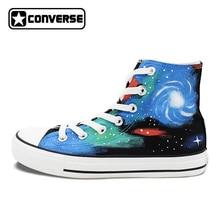 Ручная роспись обувь для мужчин и женщин Converse All Star Galaxy небулярная оригинальный дизайн холст кроссовки с высоким берцем скейтбординга