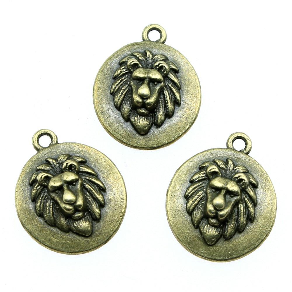 4pcs Charm Lion Head Vintage Lion Head Charms For Jewelry Making Antique Bronze Color Lion Head Round Tag Charms 20x24mm