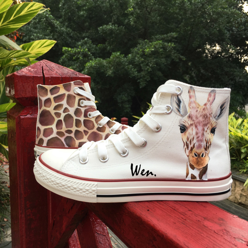 Wen Cute Giraffe White High Top Personalized Shoes Art Unique Birthday Gifts For Men Women Hand Painted Canvas Sneakers
