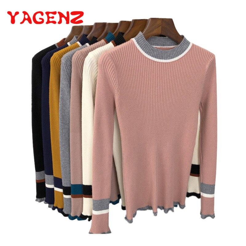 YAGENZ Knit Jumper Shirt Pullover Sweater Female Oversized O-Neck Long-Sleeve Girls Autumn Winter
