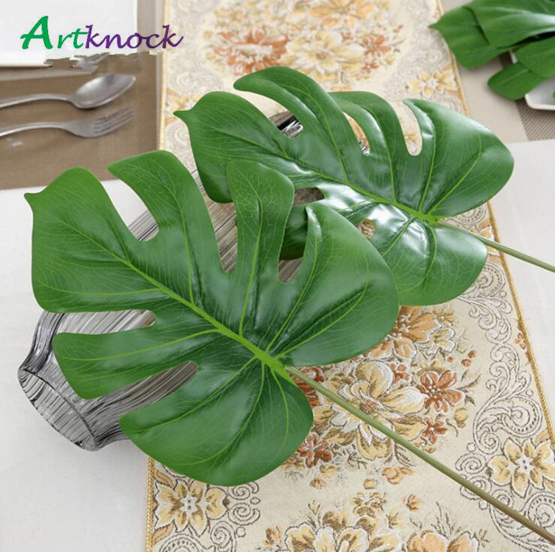 1Pc Large Vivid Plastic Artificial Palm tree Monstera leaf greenery plant branch flores Home wedding decoration tropical Leaves
