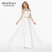 Real Photos Chiffon High End Quality White Color A Line Evening Long White Dress OL102401
