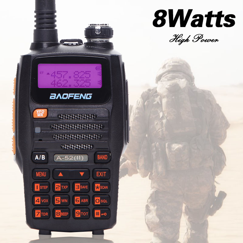Baofeng A-52 8W Powerful walkie talkie Two-Way Radio 10km long range Transceiver Dual Band (Upgraded of BF A52) for hunnting