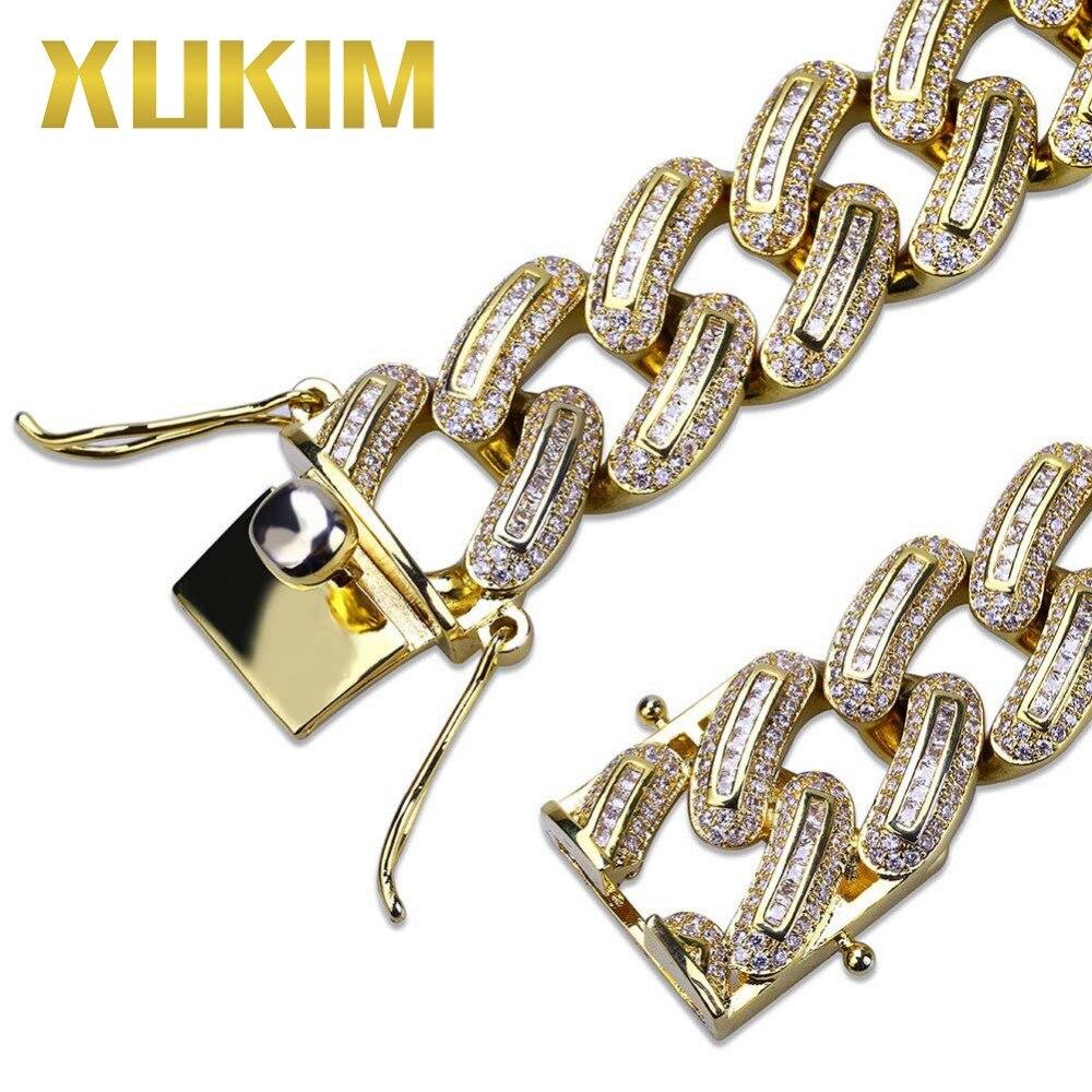 Xukim bijoux Hip Hop plein glacé Micro Pave AAA cubique zircone or couleur lien chaîne hommes Bracelet Bracelet bijoux cadeau fête - 4