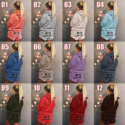 QWEEK Flannel Winter   Pajama     Sets   Women Sleepwear Cartoon Cat Pyjamas Women Warm Fashion Female   Pajama   Casual Pijama Home Wear