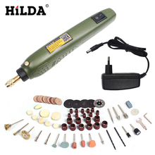 Sale HILDA FOR Dremel Mini Electric Drill + Grinding Accessories Set Multifunction Engraving Machine Electric Tool kits Power Tools