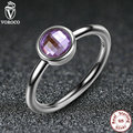 925 Sterling Silver Rings Poetic Droplet Purple CZ Finger Ring Compatible With VRC Women Fashion Wedding Jewelry A7185