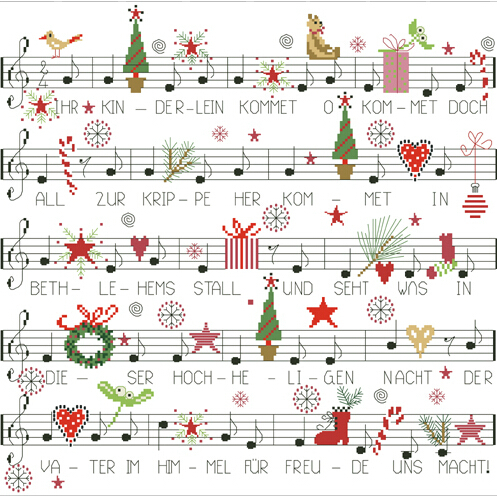 14ct Counted Cotton Cross Stitch Kits Merry Christmas Song sheet Cartoon European Embroidery Set Needlework With Tools 46*45 cm image