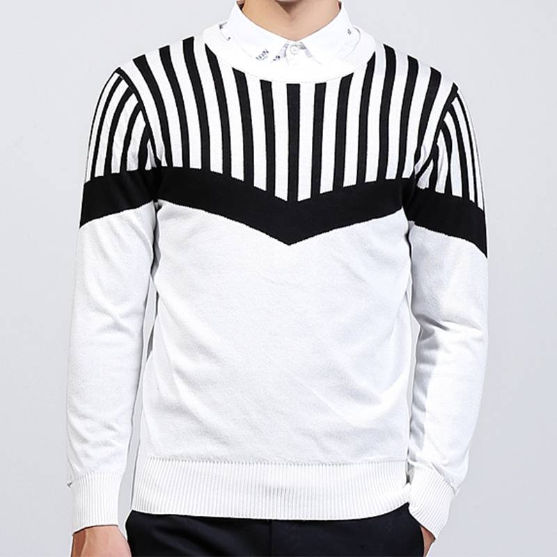 Anbican Fashion Black And White Knitted Sweater Men 2017 Autumn