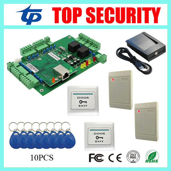 Smart card door access control system TCP/IP webserver remote control access control panel with RFID card reader and exit button biometric fingerprint access controller tcp ip fingerprint door access control reader