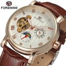 2017 Forsining Hombre Saat Hora Reloj Personalizado Relojes de Los Hombres Mecánicos de Lujo de la Marca Correa de Cuero Automático de Hombre Vestido Reloj Hora