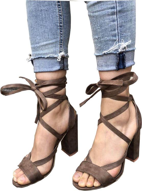 2018 Summer Sandals Women High Heels Gladiator Sandals Womens Shoes Ankle Strap Lace-up Sexy Pumps Sandali Eleganti