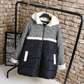 Cute Women Parkas Casual Plus Size 3XL Loose Long Style Patchwork Warm Thick Winter Parka Coat Outerwear KK2221