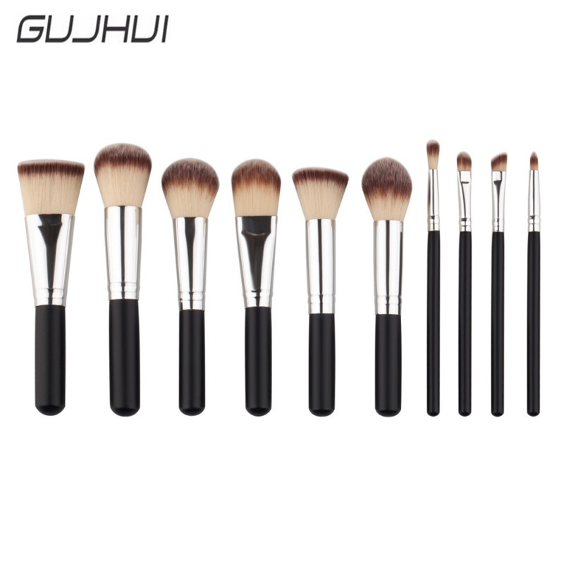 GUJHUI New Pro 10Pcs Cosmetic Makeup Brushes Set Bulsh Powder Foundation Eyeshadow Eyeliner Lip Make up Brush Beauty Tools D1 new 32 pcs makeup brush set powder foundation eyeshadow eyeliner lip cosmetic brushes kit beauty tools fm88