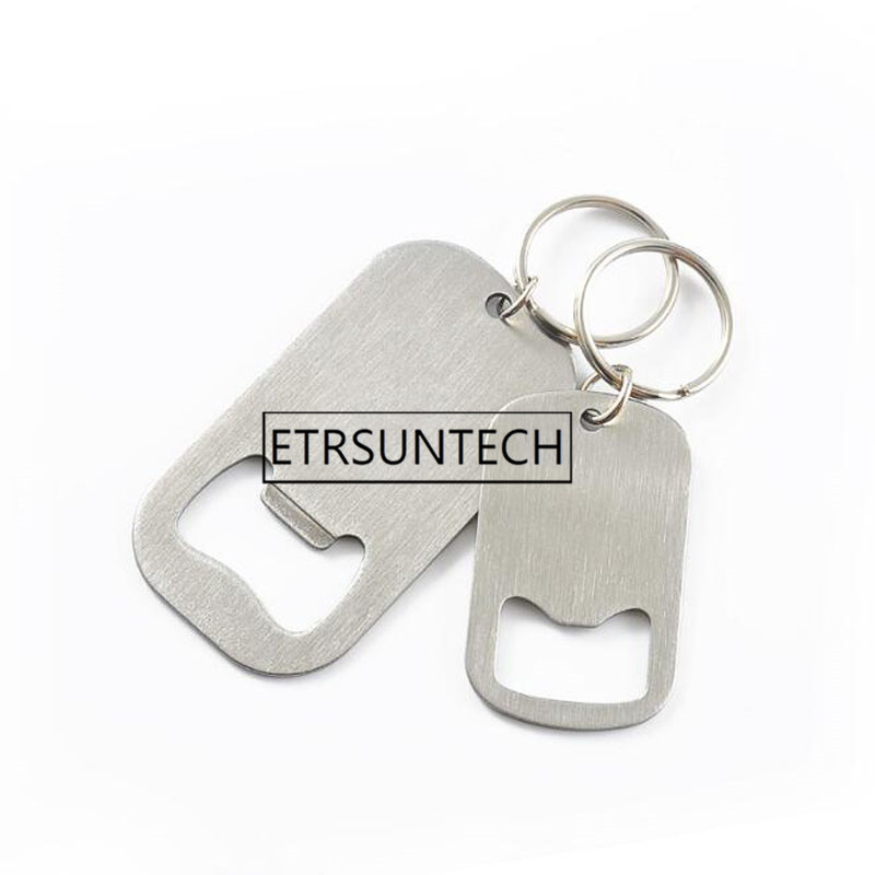 100pcs Stainless Steel Flat Speed Quick Bottle Opener Cap Remover Bar Tools Beer Opener Keychains Custom Engraved