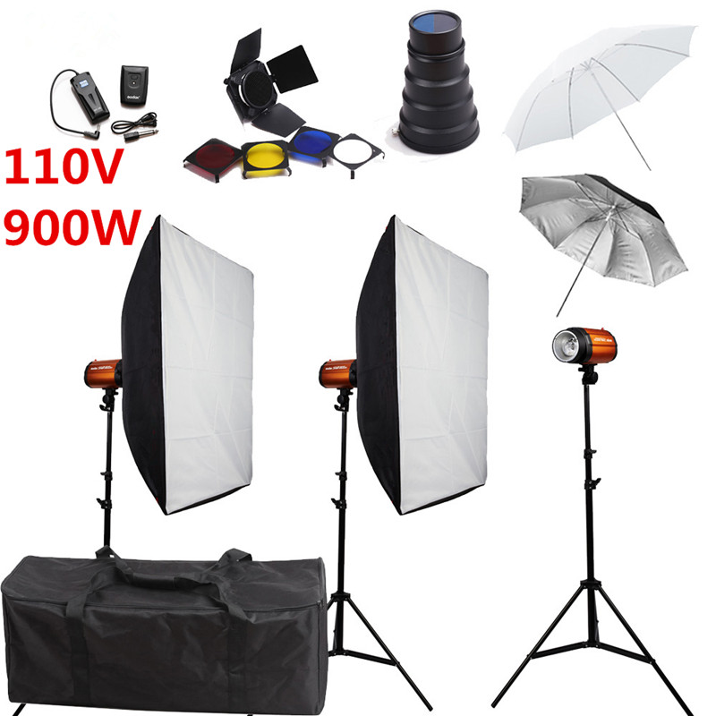 Godox Smart 300SDI Photography Studio Soft Box Flash Lighting Kits 900w 110V Flash Light*3+Softbox*2+Stand*3 For Photo Studio цена 2016