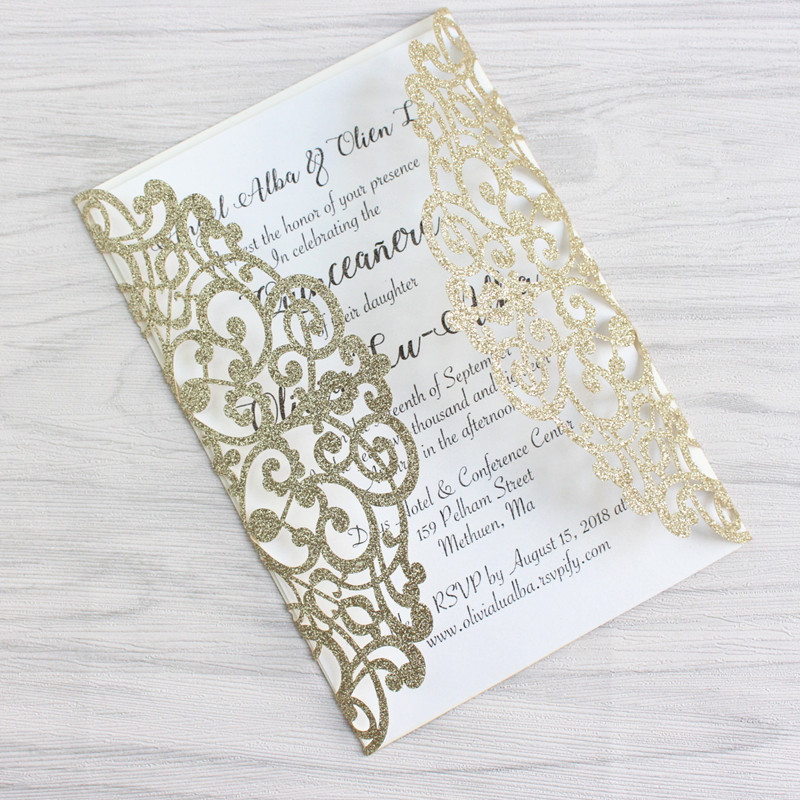 Laser Cut Gold Platinum: Glittery Wedding Invitations For Wedding Elegant Laser Cut