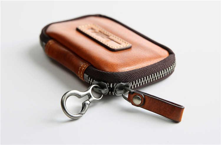 Натуральная кожа небольшой мужской кошелек и молнией в стиле ретро; женские кошельки мешочек с брелоком сумка карман для монет Мини старинный ключ цепи Футляр для ключей