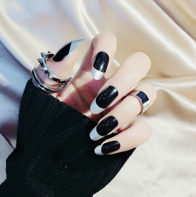 2018 New Arrival 24 pcs French Fake Nails Long Round Head Black Full ...
