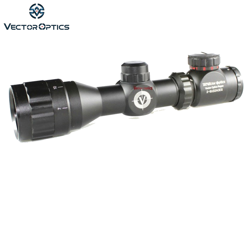 Vector Optics Rogue 2-6x32 AOE Hunting Riflescope with 25mm Mount Ring Sunshade Flipup Cap vector optics nova 3 5 10x42 ao objective focus hunting shooting riflescope 1 inch monotube with weaver or dovetail mount rings
